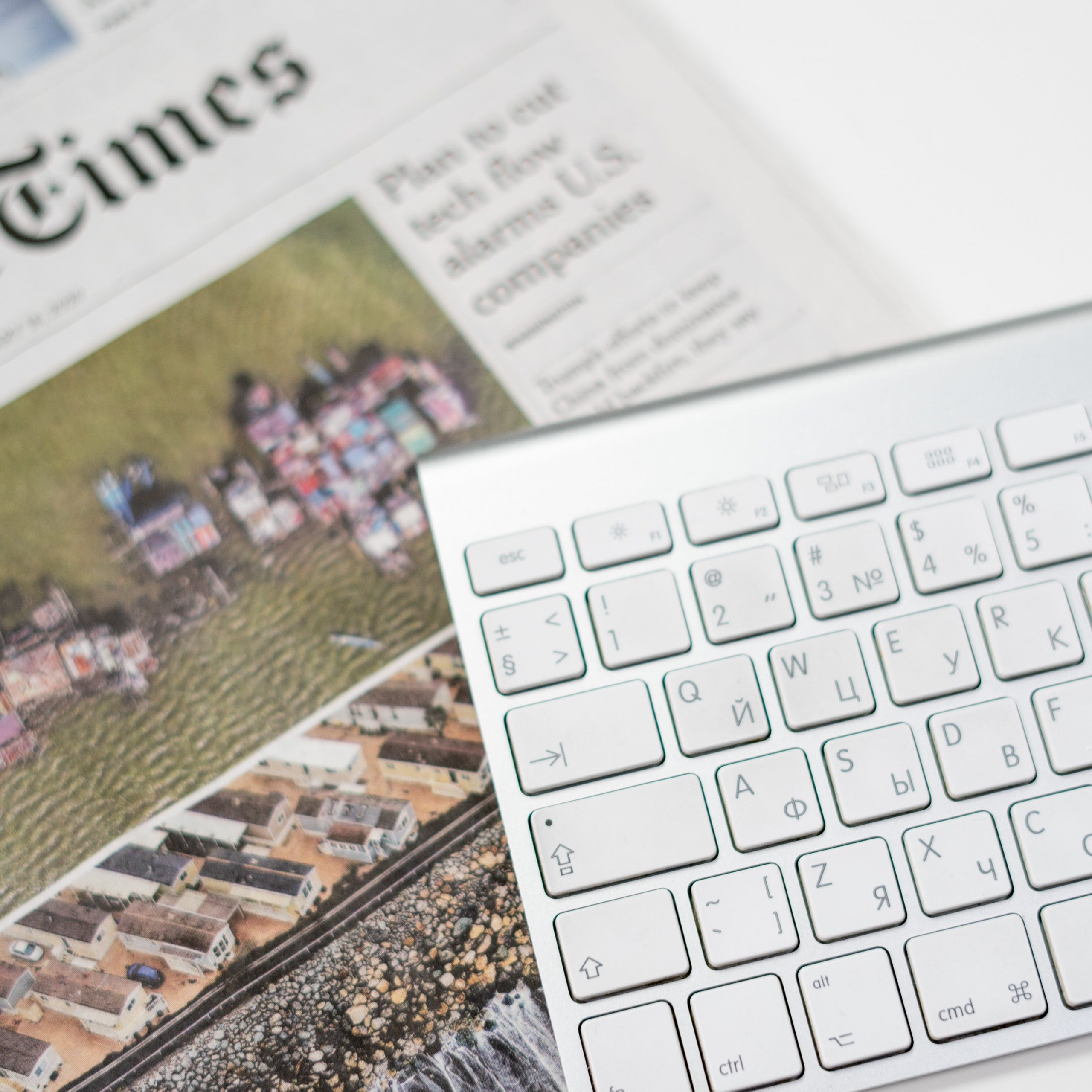 New York Times with a silver keyboard